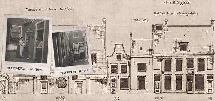 Gevels Blokshofje en weeshuis Klein Heiligland