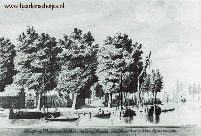 Gezicht op het Hofje van Noblet aan de bocht van het Spaarne te Haarlem. Prent van C. van Noorden uit 1763.