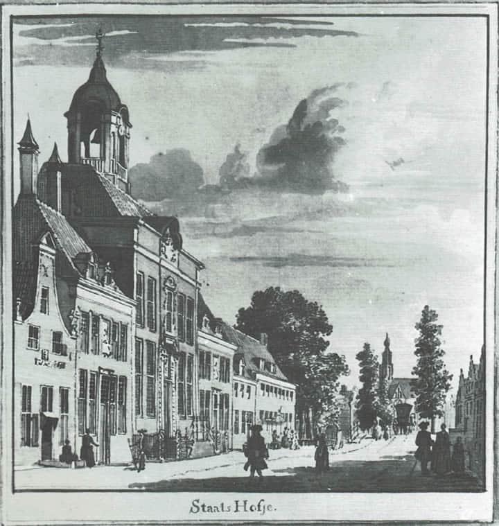 Hofje van Staats, in de verte de st.Bavo - Prent van C. Pronck. 18de eeuw