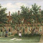 Het Hofje van Oud Alkemade in de barrevoetesteeg, schildering Looy sr., Pieter van (1823-1885).